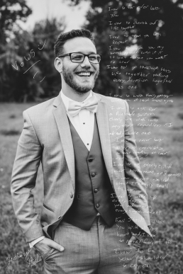 groom laughing with vows overlay on the photo
