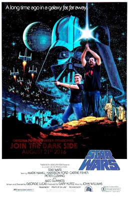 engaged couple made into a star wars poster from the original star wars