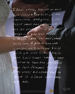 bride and groom holding hands with vows overlay on the photo