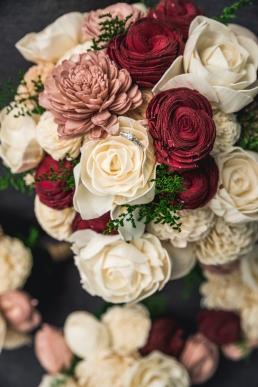wedding rings in a bouqet of paper flowers - foam flowers