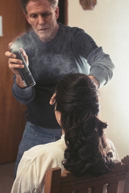 hair spray on the bride