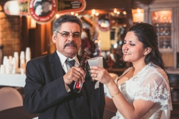 bride and father cheers