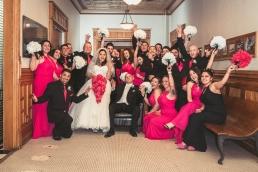 huge wedding party at union station in pueblo colorado