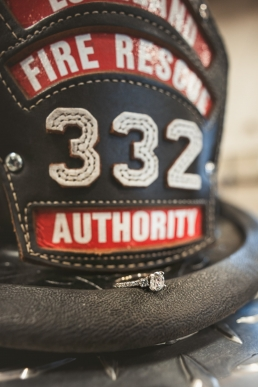 fireman hat with engagement ring