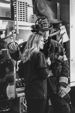 engagement photo with fireman